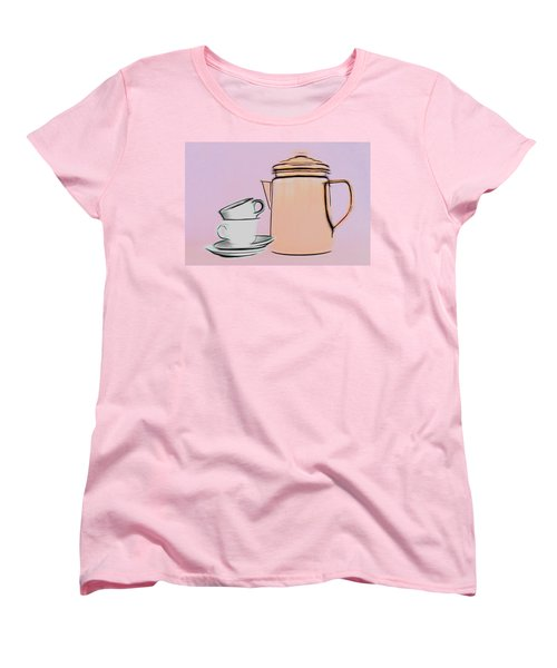 Women's T-Shirt (Standard Cut) featuring the photograph Retro Style Coffee Illustration by Tom Mc Nemar