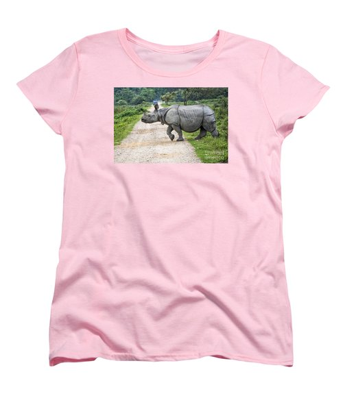 Rhino Crossing Women's T-Shirt (Standard Cut) by Pravine Chester