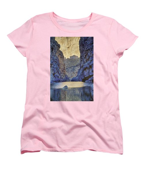Women's T-Shirt (Standard Cut) featuring the tapestry - textile Rio Grand, Santa Elena Canyon Texas 2 by Kathy Adams Clark