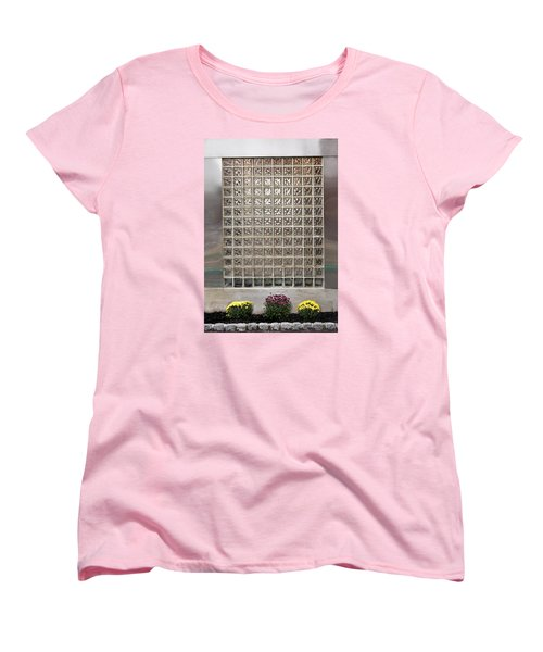 Women's T-Shirt (Standard Cut) featuring the photograph Rippled Glsss Window Segments Above The Garden by Gary Slawsky