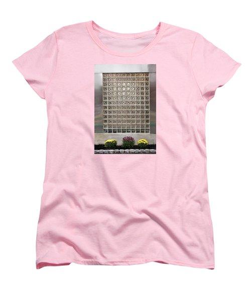 Rippled Glsss Window Segments Above The Garden Women's T-Shirt (Standard Cut) by Gary Slawsky