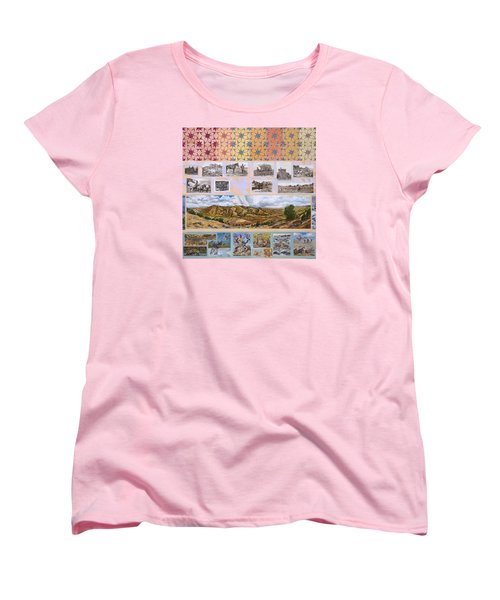 Women's T-Shirt (Standard Cut) featuring the painting River Mural Autumn Panel Top Half by Dawn Senior-Trask