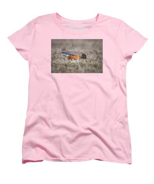 Women's T-Shirt (Standard Cut) featuring the photograph Robin Pulling Worm by Tyson Smith