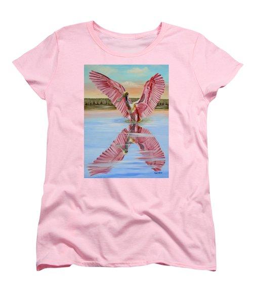 Rockport Roseate Spoonbill Women's T-Shirt (Standard Cut) by Phyllis Beiser