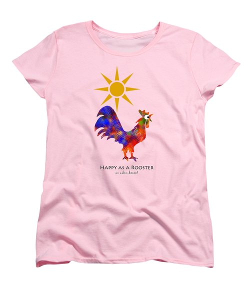 Rooster Pattern Aged Women's T-Shirt (Standard Cut) by Christina Rollo