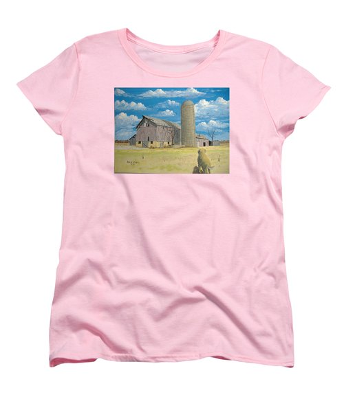 Women's T-Shirt (Standard Cut) featuring the painting Rorabeck Barn by Norm Starks