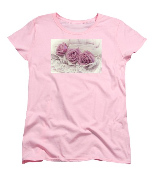 Roses And Beaded Lace Women's T-Shirt (Standard Cut) by Sandra Foster