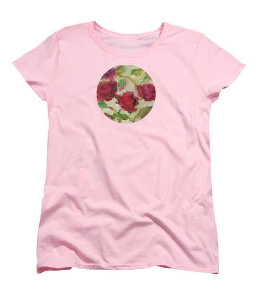 Women's T-Shirt (Standard Cut) featuring the painting Roses by Mary Wolf
