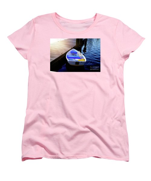 Rowboat At Sunset Women's T-Shirt (Standard Cut) by Inspirational Photo Creations Audrey Woods