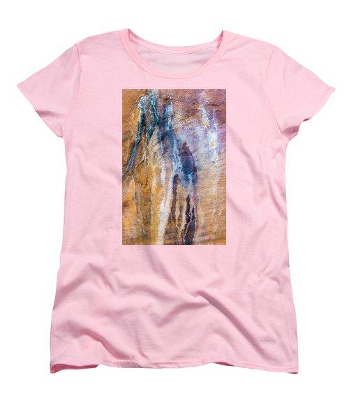 Women's T-Shirt (Standard Cut) featuring the photograph Runoff Abstract, Bhimbetka, 2016 by Hitendra SINKAR