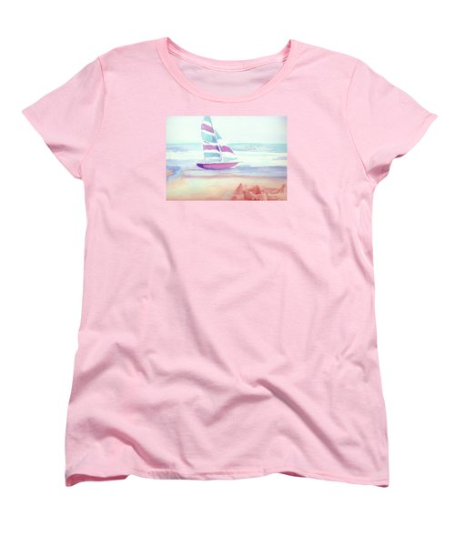 Women's T-Shirt (Standard Cut) featuring the painting Sail Away by Denise Fulmer