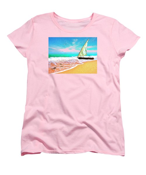 Sail Boat On The Shore Women's T-Shirt (Standard Cut)