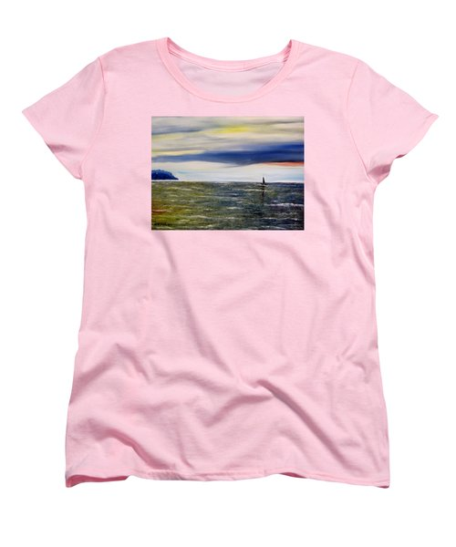 Women's T-Shirt (Standard Cut) featuring the painting Sailing At Dusk by Marilyn  McNish