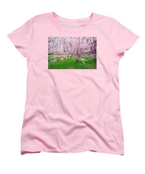 Women's T-Shirt (Standard Cut) featuring the photograph Sakura Bloom In Keukenhof Garden by Jenny Rainbow