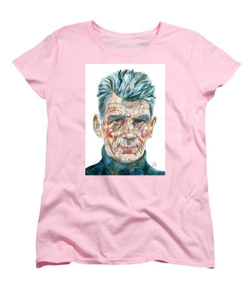 Women's T-Shirt (Standard Cut) featuring the painting Samuel Beckett Watercolor Portrait.10 by Fabrizio Cassetta