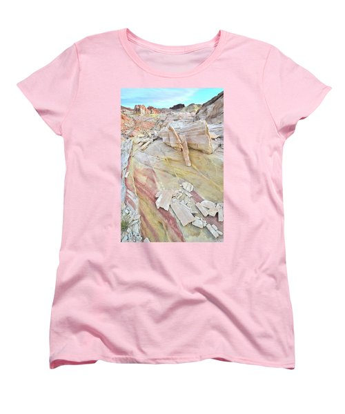Sandstone Rainbow In Valley Of Fire Women's T-Shirt (Standard Cut) by Ray Mathis