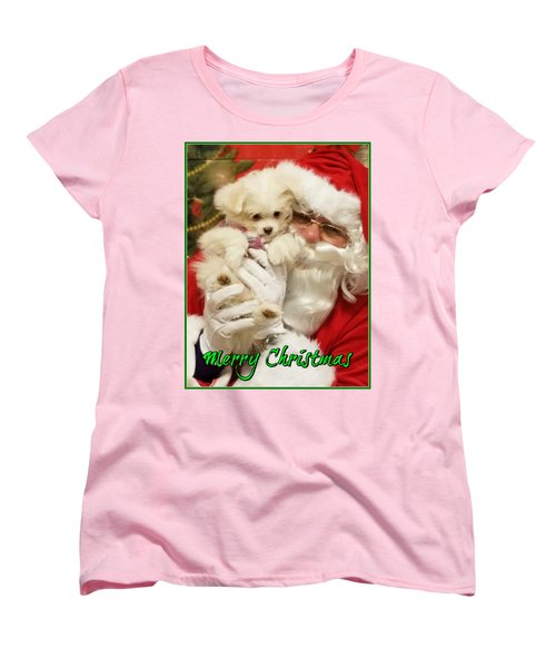 Women's T-Shirt (Standard Cut) featuring the painting Santa Paws  by Darren Robinson
