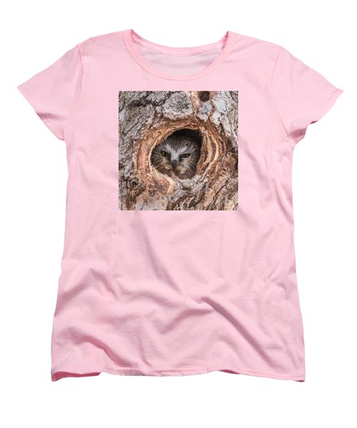 Saw-whet Secret Women's T-Shirt (Standard Cut) by Yeates Photography