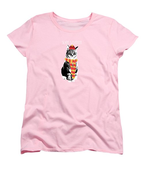 Women's T-Shirt (Standard Cut) featuring the mixed media Scarf Weather Cat- Art By Linda Woods by Linda Woods