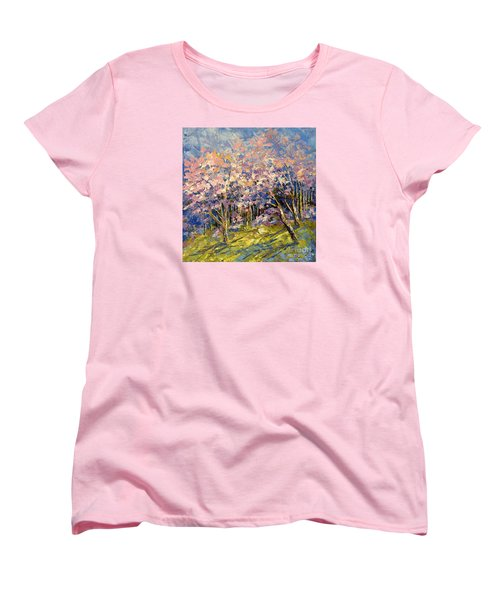 Women's T-Shirt (Standard Cut) featuring the painting Scented Blooms by Tatiana Iliina