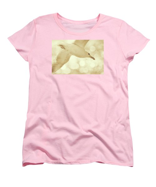 Women's T-Shirt (Standard Cut) featuring the photograph Sea Gull On Neutral Bokeh Background by Peggy Collins