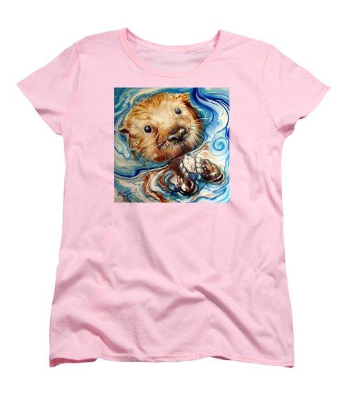 Sea Otter Swim Women's T-Shirt (Standard Cut) by Marcia Baldwin