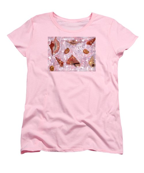 Women's T-Shirt (Standard Cut) featuring the painting Sea Shells by Annemeet Hasidi- van der Leij