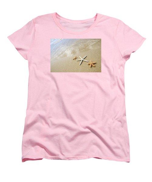 Seastars On Beach Women's T-Shirt (Standard Cut) by Mary Van de Ven - Printscapes