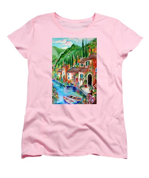 Women's T-Shirt (Standard Cut) featuring the painting Serenity By The Lake by Roberto Gagliardi