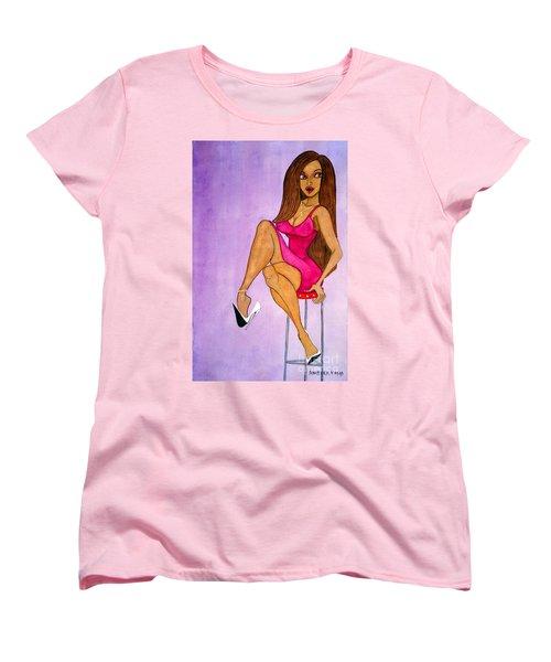 Women's T-Shirt (Standard Cut) featuring the painting Daeliah, The Queen Of Dangling Stiletto by Don Pedro De Gracia