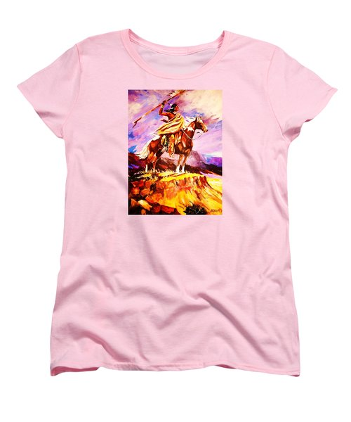 Women's T-Shirt (Standard Cut) featuring the painting Signalling Sighting Of The Buffalo Herd by Al Brown