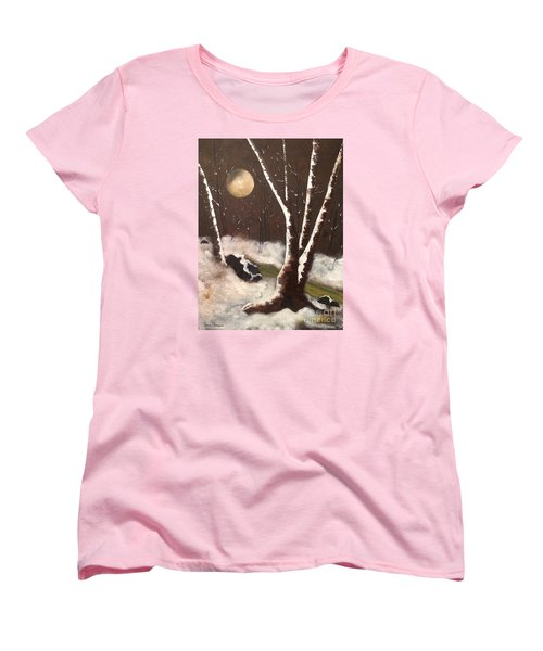 Silent Night Women's T-Shirt (Standard Cut) by Denise Tomasura