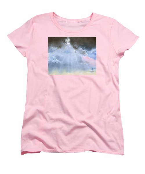 Women's T-Shirt (Standard Cut) featuring the painting Silver Lining Behind The Dark Clouds Shining by Jane Autry
