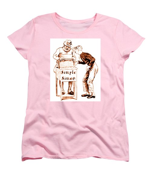 Simple Simon Mother Goose Vintage Nursery Rhyme Women's T-Shirt (Standard Cut) by Marian Cates