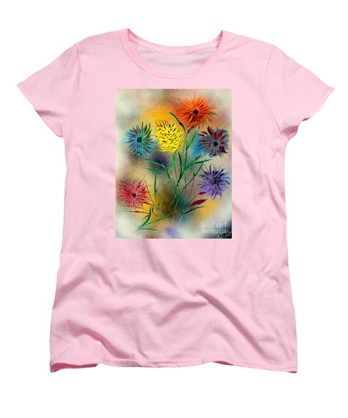 Women's T-Shirt (Standard Cut) featuring the painting Six Flowers - E by Greg Moores