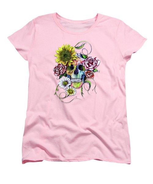 Skull And Flowers Women's T-Shirt (Standard Cut)