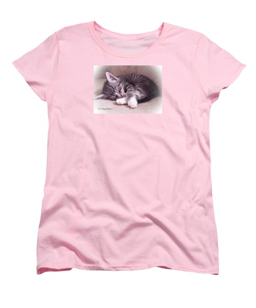 Sleepy Kitten Bymaryleeparker Women's T-Shirt (Standard Cut) by MaryLee Parker