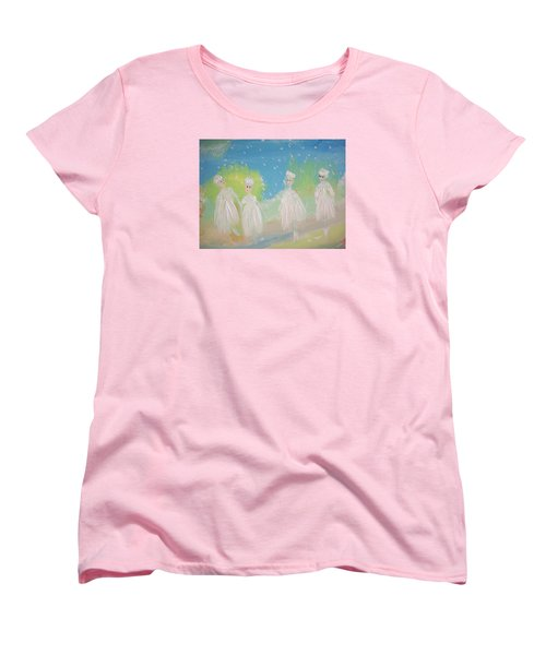 Women's T-Shirt (Standard Cut) featuring the painting Snow Ballet by Judith Desrosiers