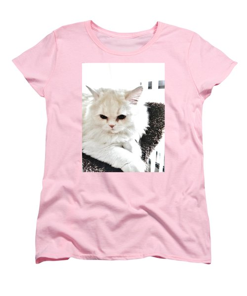 Women's T-Shirt (Standard Cut) featuring the photograph Snowball Is 92 Year Old Widows Cat by Marsha Heiken
