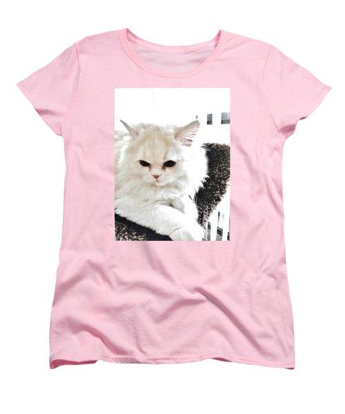 Snowball Is 92 Year Old Widows Cat Women's T-Shirt (Standard Cut) by Marsha Heiken