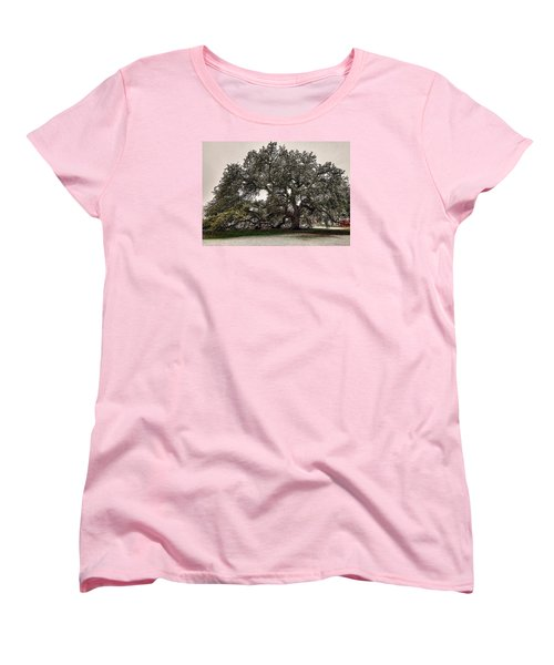 Snowfall On Emancipation Oak Tree Women's T-Shirt (Standard Cut) by Jerry Gammon