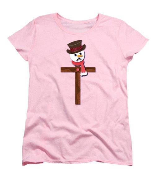 Snowman Christian Cross Women's T-Shirt (Standard Cut) by Reggie Hart