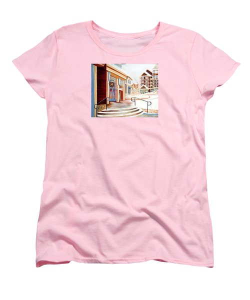 Snowshoe Village Shops Women's T-Shirt (Standard Cut) by Shelia Kempf