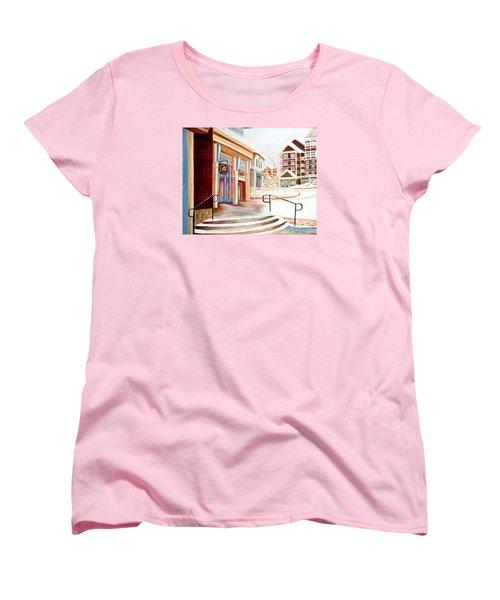 Women's T-Shirt (Standard Cut) featuring the painting Snowshoe Village Shops by Shelia Kempf