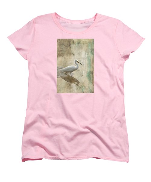 Women's T-Shirt (Standard Cut) featuring the mixed media Snowy Egret In Grunge by Rosalie Scanlon