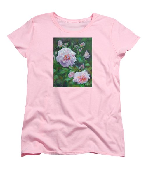 Women's T-Shirt (Standard Cut) featuring the painting Softly Pink Roses by Karen Kennedy Chatham
