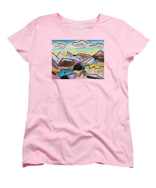 Women's T-Shirt (Standard Cut) featuring the painting Some Gold In The Hills by Mary Carol Williams
