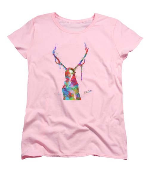 Song Of Elen Of The Ways Antlered Goddess Women's T-Shirt (Standard Cut) by Nikki Marie Smith