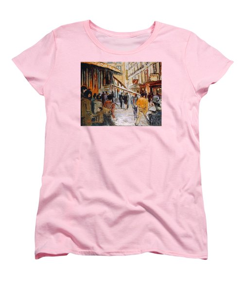 Women's T-Shirt (Standard Cut) featuring the painting Souk De Buci by Walter Casaravilla