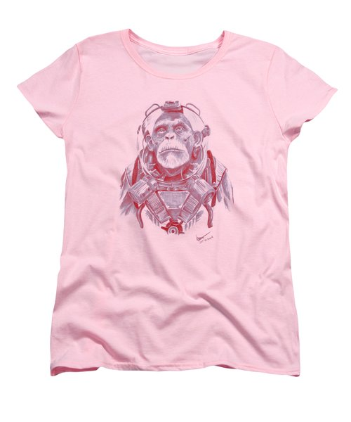 Space Chimp Women's T-Shirt (Standard Cut) by Kenny Noorlander